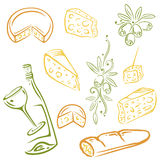 Cheese, wine, olives. Cheese, wine and olives, colorful vector set Royalty Free Stock Images