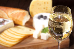 Cheese with wine Stock Images