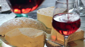 Cheese and wine stock video footage