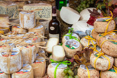 Cheese and wine, Typical products of Piedmonte, Italy Stock Image