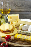 Cheese and wine various assortment Royalty Free Stock Photo