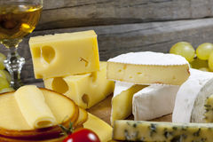 Cheese and wine various assortment Stock Photo