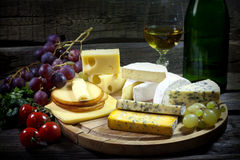 Cheese and wine various assortment Stock Image