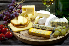 Cheese and wine various assortment Royalty Free Stock Photography