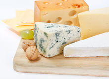 Cheese on wood board Stock Photography