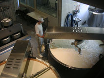 Cheese worker. Worker checking machinery in a cheese factory Stock Photos