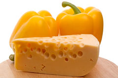 Cheese and yellow pepper Stock Images