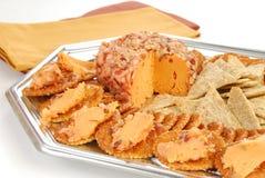 Cheeseball and crackers Royalty Free Stock Image