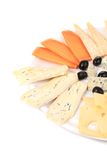 Cheeseboard with black olives. Isolated on a white background Royalty Free Stock Images