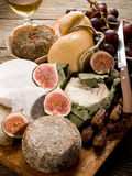 Cheeseboard  with cheese and fruit Royalty Free Stock Image