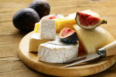 Cheeseboard with figs Stock Photo