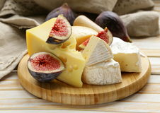 Cheeseboard with figs Stock Photography