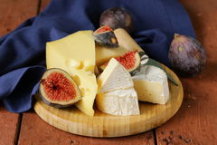 Cheeseboard with figs Royalty Free Stock Image