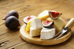 Cheeseboard with figs Stock Images