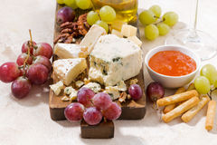 Cheeseboard, fresh grapes and honey on a white background. Closeup, horizontal Royalty Free Stock Photo