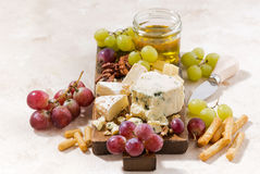 Cheeseboard, fruits and honey on a white background. Horizontal Royalty Free Stock Images