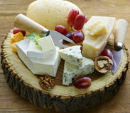 Cheeseboard mit sortierten Käsen lizenzfreie stockfotos