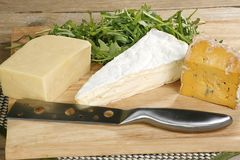 Cheeseboard selection. Cheeseboard with cheddar somerset brie and shropshire blue vein Royalty Free Stock Photography