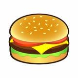 Cheeseburger ή χάμπουργκερ εικονίδιο για τα σημάδια και τα λογότυπα Στοκ Φωτογραφίες