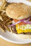 Cheeseburger κατ' οίκον γίνοντα τηγανητά Στοκ εικόνες με δικαίωμα ελεύθερης χρήσης
