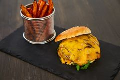 Cheeseburger με ένα κυλημένο επάνω κουλούρι με το σουσάμι, το λειωμένο κίτρινο τυρί, η πράσινη φρέσκια σαλάτα και η φρέσκια μπριζ Στοκ Φωτογραφίες