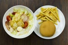Cheeseburger σαλάτας Caesar croutons ντοματών τροφίμων τηγανητών εύγευστο υγιές τυρί παρμεζάνας και φρέσκο γρήγορο φαγητό άχρηστο Στοκ Εικόνα