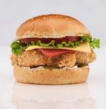 Cheeseburger σε ένα άσπρο υπόβαθρο Στοκ εικόνα με δικαίωμα ελεύθερης χρήσης