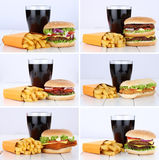 Cheeseburger συλλογής χάμπουργκερ καθορισμένο και επιλογών τηγανητών combo γεύματος Στοκ φωτογραφία με δικαίωμα ελεύθερης χρήσης