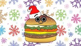 Cheeseburger Χριστουγέννων και ζωηρόχρωμα snowflakes απεικόνιση αποθεμάτων