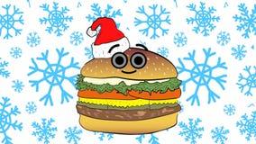 Cheeseburger Χριστουγέννων και μπλε snowflakes απεικόνιση αποθεμάτων
