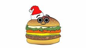 Cheeseburger Χριστουγέννων στο λευκό ελεύθερη απεικόνιση δικαιώματος
