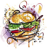 Cheeseburger покрашенный рукой иллюстрация вектора