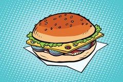 Cheeseburger с луками и сыром иллюстрация штока