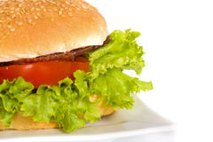 Cheeseburger. On the plate isolated on the white background Royalty Free Stock Photography