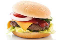 Cheeseburger. Isolated as close up royalty free stock images