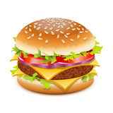 Cheeseburger. Hamburger with cheese over white Stock Image