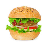 Cheeseburger. Appetizing cheeseburger on the white Royalty Free Stock Images