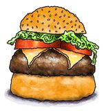 Cheeseburger. Cartoon illustration of a cheeseburger with lettuce, tomato and a sesame seed bun Stock Photography
