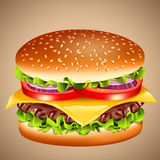 Cheeseburger. Vector illustration of classic cheeseburger Royalty Free Stock Photo