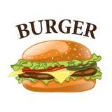 белизна предпосылки изолированная бургером Иллюстрация вектора Cheeseburger Стоковая Фотография RF