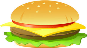 Cheeseburger. Isolated on white, vector, eps 8 format Royalty Free Stock Photo