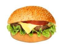 Cheeseburger américain d'hamburger classique parfait d'hamburger d'isolement photo stock