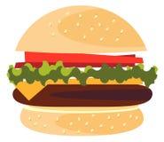 Cheeseburger americano do hamburguer clássico do Hamburger com o próximo da carne e do molho do queijo da cebola do tomate da alf ilustração stock