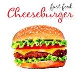 Cheeseburger americano realistico dell'acquerello Alimenti a rapida preparazione illustrazione vettoriale