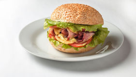 Cheeseburger avec du jambon, la tomate et la salade Image stock