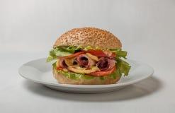 Cheeseburger avec du jambon, la tomate et la salade Photographie stock