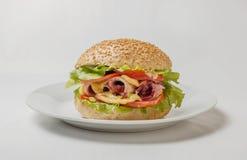 Cheeseburger avec du jambon, la tomate et la salade Images stock