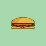 Cheeseburger avec le lard dans le style minimaliste Conception plate Images stock