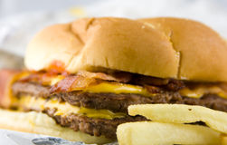 Cheeseburger with Bacon Stock Images