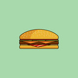 Cheeseburger with bacon in minimalist style. Flat design. Cute cartoon cheeseburger with bacon. Burger with ham, tomatoes, cutlet, pickle. Minimalist line style Stock Images